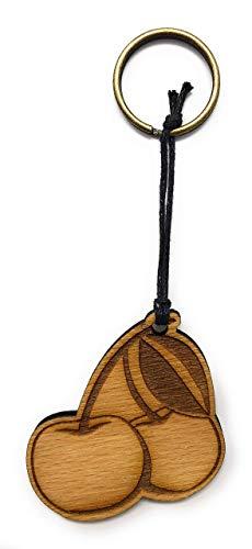 Schlüsselanhänger Kirsche aus Holz optional mit individueller persönlicher Gravur ! - Optional Kirsche