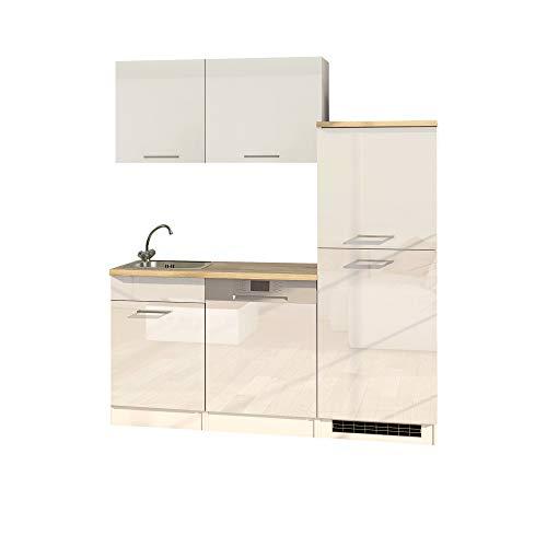 LIVATHA Büroküche MÜNCHEN - Küchenblock mit Geschirrspüler und Kühlschrank - 170 cm breit - Hochglanz Weiß
