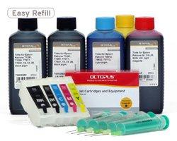 Preisvergleich Produktbild Fill In Patronen 26 mit Autoresetchips und 6 x 250ml Nachfülltinte (kein OEM) für Epson 26,  26XL und Epson Expression Premium XP-600,  XP-700,  XP-800,  XP-605