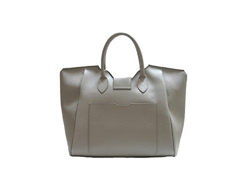 JustGlam - Borsa a mano da donna modello birkin c/tracolla new collection autunno/inverno in vera pelle made in italy art br03 grigio