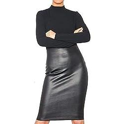 Re Tech UK Polo Mujer Cuello Alto Panel Imitación Cuero Vestido Ceñido Piel Sintética Falda Manga Larga Medio - Negro, 40