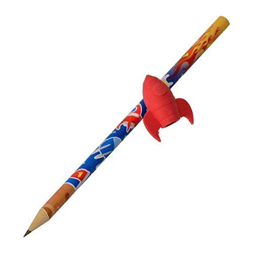 Rakete Bleistift in rot mit Radiergummi - Stift Schreibstift Weltraum