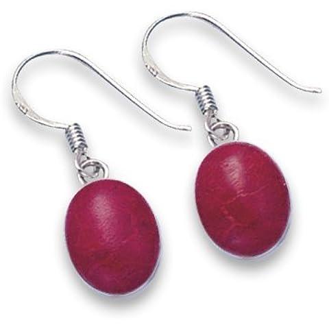 En caja de regalo plata de ley Oval doble cara plata rojo coral esponja pendientes–TAMAÑO: