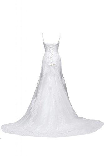 Sunvary 2014-abiti da matrimonio, colore: bianco senza spalline A-line per Spaghetti in pizzo White