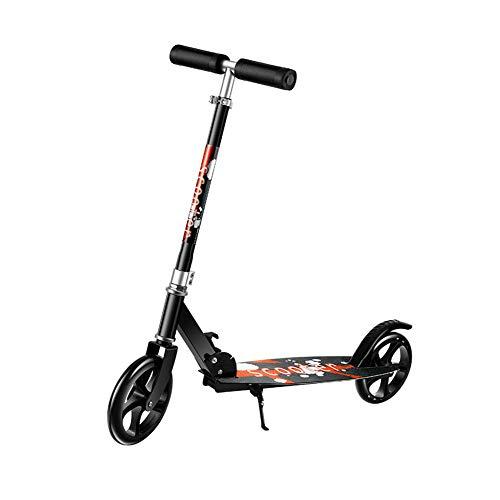 MIRACLEM Adulto Scooter/Segunda Rueda IR Al Trabajo Scooter/Plegable Campus Dos Ruedas Pedal Scooter,Black