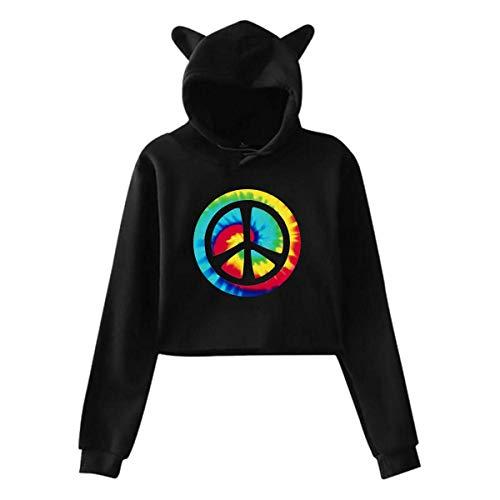 HYJDZKJY Frauen Teen Mädchen Nette Katze Ohr Pullover Hoodie Pullover Tie Dye Friedenszeichen Langarm Crop Top Sweatshirts Hoody -
