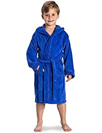 175b8faf8c Red Olives Kids Boys Girls Bathrobe 100% Egyptian Cotton Luxury Velour Towelling  Hooded Dressing Gown