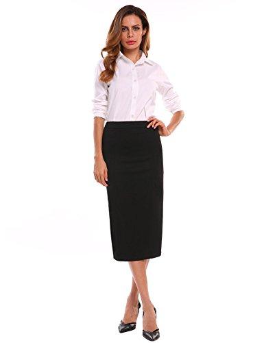 Chigant Damen Bleistift Rock Knielang Hohe Taille Stretch Business Rock mit Schlitz - Schlitz Pencil Mit Skirt