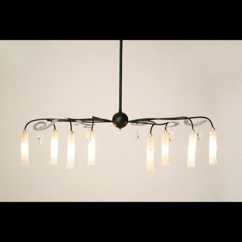 Holländer Hängeleuchte 8-flg. CASINO OVAL, Eisen schwarz silber - Glas weiß satiniert - Behang Kristall klar