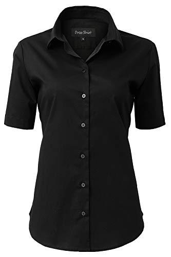 INFLATION Damen Kurzarmbluse für Freizeit und Büro Baumwolle Hemdbluse, Figurbetonte Bluse Businessbluse Arbeithemden Unifarben Schwarz 43/16
