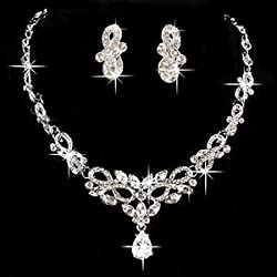SLB Works Brand New Gorgeous Bridal Wedding Party Crystal Rhinestone Necklace Earring Jewelry Sets