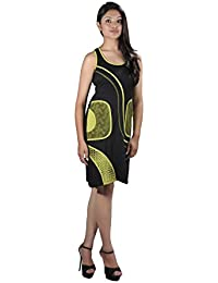 Femmes robe sans manches avec poche latérale Vert et Noir - HARIYALI