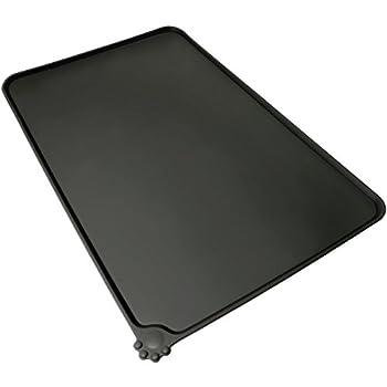 igadgitz Home Tapis de Nourriture en Silicone pour Animaux 47x30cm Tapis Gamelle Antidérapant pour Bols Chien Chat ? Noir