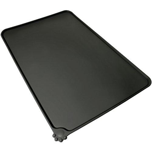 igadgitz Home Tapis de Nourriture en Silicone pour Animaux 47x30cm Tapis Gamelle Antidérapant pour Bols Chien Chat – No