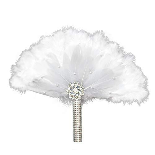 Flapper Kostüm Einfache - Metme Roaring 20s Feather Fan Falten Handheld Flapper Marabou Feather Hand Fan für Kostüm Dance Party Gatsby Zubehör