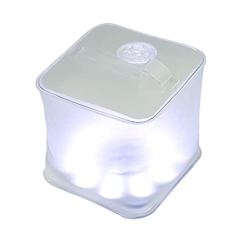 100% Water Resistant Floating Cube Inflatable Solar Lantern 10 LED Solar Charging Energy Light 3 Light Modes with a Charge Indicator for Camping, Hiking, Outdoor