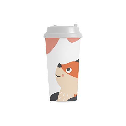 cher Fox Tier Gewohnheits personalisierter Druck 16 Unze doppelwandiger Plastikisolierte Sport Wasser Flaschen Schalen Pendler Reise Kaffeetassen für Studenten Frauen Milch Teacup ()