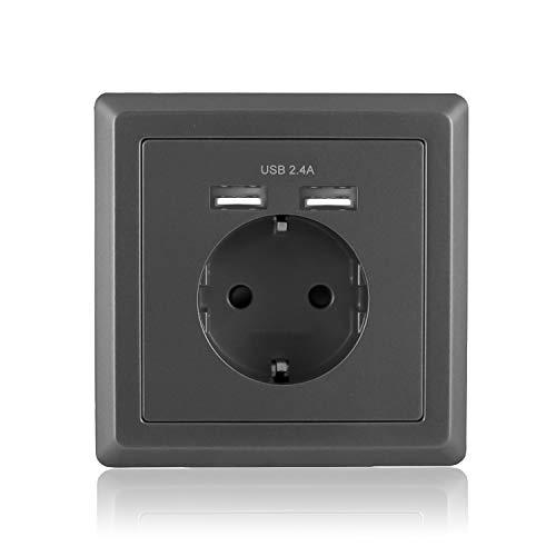 benon Wand-Steckdose mit USB Anschluss, Unterputz - Grau - Überlastschutz und Kindersicherung - 2.4A USB (5V), max. 3680W Digitalkamera-dock