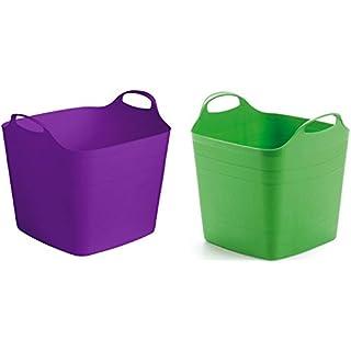 2 x Flexibler Korb mit 40 Liter Volumen und zwei robusten Griffen. In schönem Lila und peppigem Grün! Toll für Haushalt & Garten!