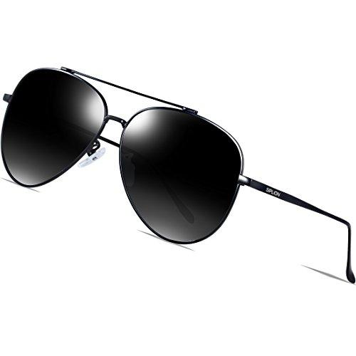 SIPLION Herren 2017 Aviator Polarisierte Sonnenbrille (Schwarz-Frame) (Schwarze Sonnenbrille Aviator)