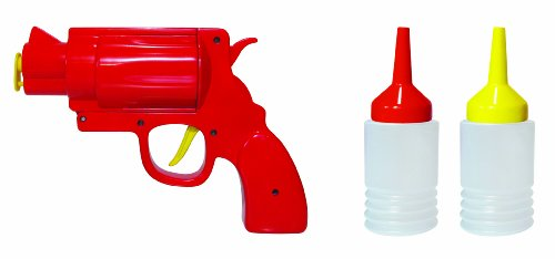 MUSTARD - Condiment Gun I lustiger Saucenspender I Saucenflaschen zum Befüllen I Spender für Ketchup, Senf, Mayonnaise I Saucenpistole I Rote Saucenspender-Pistole / 2 wiederverwendbare Saucenflaschen Senf Pumpen