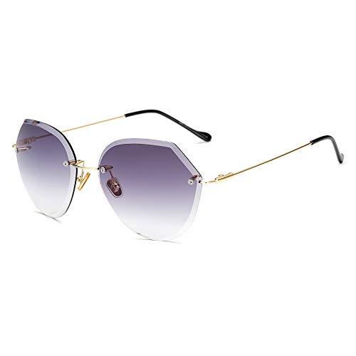 L.L.QYL Gläser Damen Sonnenbrillen Großhandel Trend rahmenlose Sonnenbrille Schnittkante Progressive Farbe reflektierende Sonnenbrille Brillen Sonnenbrillen (Color : 1)