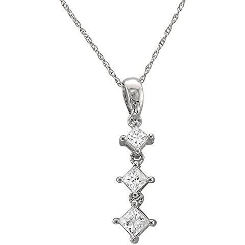 Oro blanco de 14 K princess-cut graduating Viaje Diamond three-stone Collar con Colgante (1/2 quilates, h-i,