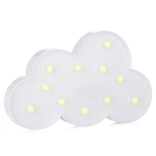 Lampes Décoratives – ZWOOS Lumière de Nuit Guirlande Décor de Bureau Les Lumières Blanches Chaudes avec des Lumières LED Fonctionnant à Pile pour Chambre d'enfants Fête de Noël(Nuages Blancs)
