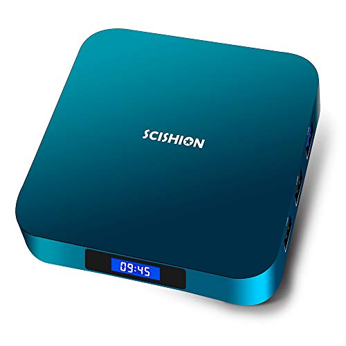 SCISHION AI ONE TV Box, Android 8.1, RAM 2GB+ROM 16GB, CPU: Rockchip 3328 Quad Core, GPU: Mali-450MP2, Dual-WiFi IEEE 802.11 b/g/n/ac 2.4G 5.8G, Support 4K, 1080P, H.265, BT 4.1, Farbe Blau