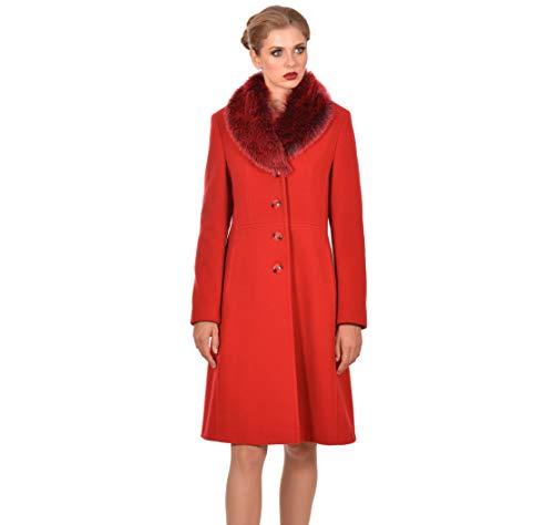 M WOMAN Damen Mantel mit Kunstpelz am Kragen, Wolle und Kaschmir-Mix, Rot, 40 -