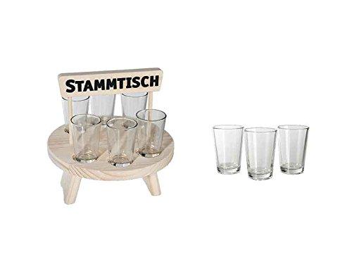 Schnapsgläser Set, 6er Set mit Holz Stammtisch (Schnapsbrett) - Schnapsbecher, Stamper, Shot Glas (Holz Shot Glas)