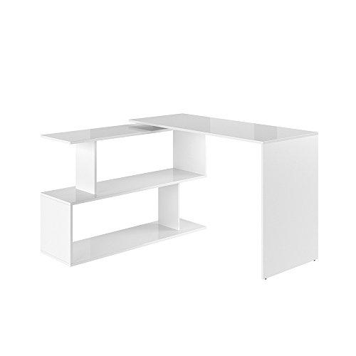 VICCO Eckschreibtisch Schreibtisch LEVIA - PC Tisch Winkelkombination Arbeitstisch Computer Büro +++ 3 Dekore +++ (Weiß Hochglanz) -