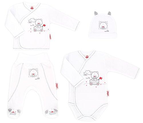MAKOMA Baby Jungen Erstausstattung Set aus Wickelshirt Stramplerhose Wickelbody und Babymütze 4tlg. -Organic- (62
