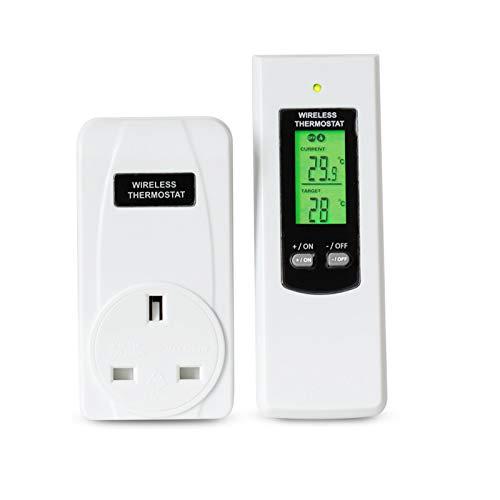 htfrgeds Wireless Thermostat Plug Automatische Temperaturregelung Plug-Play-Fernbedienung, mit LCD-Fernbedienung, Jede Steuerung bis zu 100 Stück Empfänger