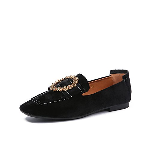Angrousobiu Frauen Schuhe Wilde Wasser Bohren quadratischen Kopf Strumpf Satin, mit bequemen flachen Boden einzelne Schuhe weiblich, 38, Schwarz (Strümpfe Geschlossen-toe)