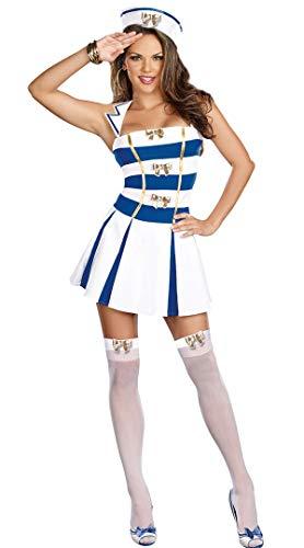 XUDSJ Halloween,Lack Kleid,hexenkostüm, Scary Halloween Kostüm Sexy Weiß Blau Sailor Damen Halloween Party Navy Dress Up Dekoration (Color : White, Size : One Size) (Einzigartige Scary Kostüm)