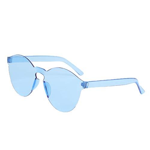 fazry Damen Herren Mode Oval Form Rahmen Bonbonfarben Rahmenlos Transparent Sonnenbrille(Blau)