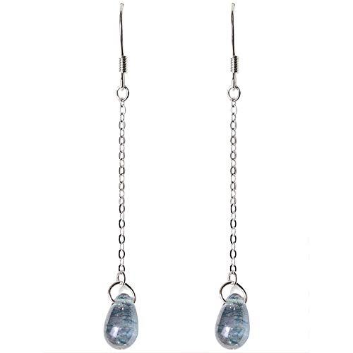 Ohrringe S925 Reinem Silber Ohrringe Wassertropfen Glas Süße Retro Ohrringe Hypoallergen Einfache Ohrringe 6Cm