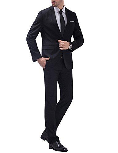Herren 2-Teilig Anzug Slim Fit für Hochzeit und Party (M, schwarz)