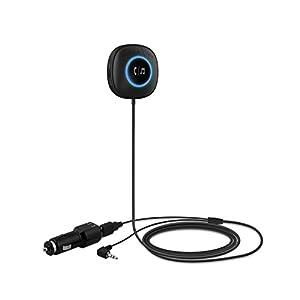 TaoTronics Auto Bluetooth Adapter Empfänger mit Freisprecheinrichtung und APTX (aux auf Bluetooth 4.0, 3.5mm Audio Klinke, Dual USB Port KFZ Ladegerät)