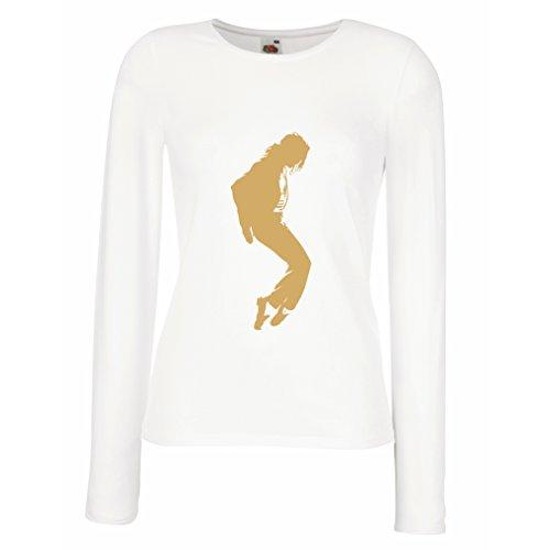 lepni.me Weibliche langen Ärmeln T-Shirt Ich liebe MJ - Fanclub Kleidung, Konzert Kleidung (X-Large Weiß Gold) (Fitted Australien T-shirt)