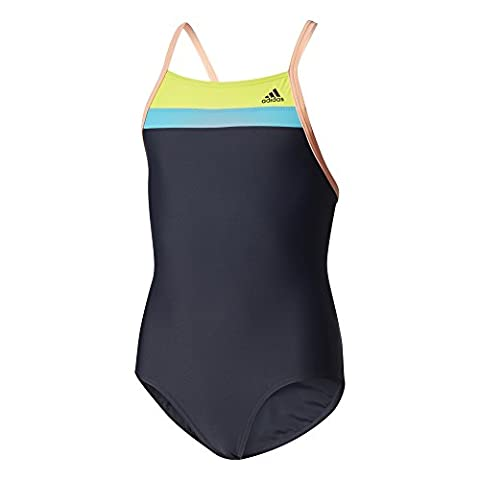 adidas Infinitex Occ Swim Maillot de bain fille, Fille, OCC Swim Infinitex, Legend Ink/Semi Solar Yellow/Energy Blue