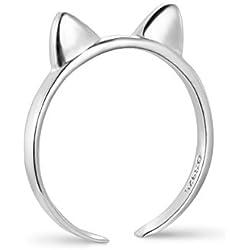 SWEETIEE anillos mujer 925 plata de ley, Orejas de gato, plata, 16mm