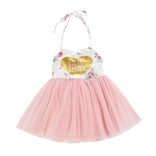 (0,5-4 Jahre alt) Kinderkleidung Weibliches Baby Prinzessin Kleid Schlauchoberteil Schlupfkleid Ärmellos Rückenfrei Liebe Blumen Blumen Mesh Tutu Kinder Party Rock