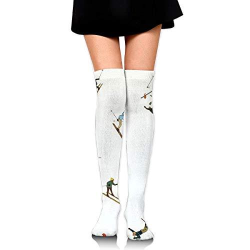 ouyjian Frauen-Mannschafts-Socken-Schenkel-hohes Knie-Skifahren-Schnee-Gebirgslanges Schlauch-Kleid-Legging Fußball-Kompressions-Strumpf - Knie-hoher Schnee