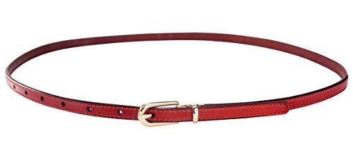 Rot Leder Mode (Aivtalk Mode Damengürtel Extra Dünn PU Leder Hüftgürtel Taillengürtel Dornschließe Jeans Kleid Belt Gürtel)