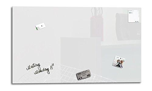 Smart Glass Board ® Pizarra de cristal magnética / Tablero de notas magnético en vidrio + 3 Imanes SuperDym + 1 Marcador, 90 x 45 cm, Blanco