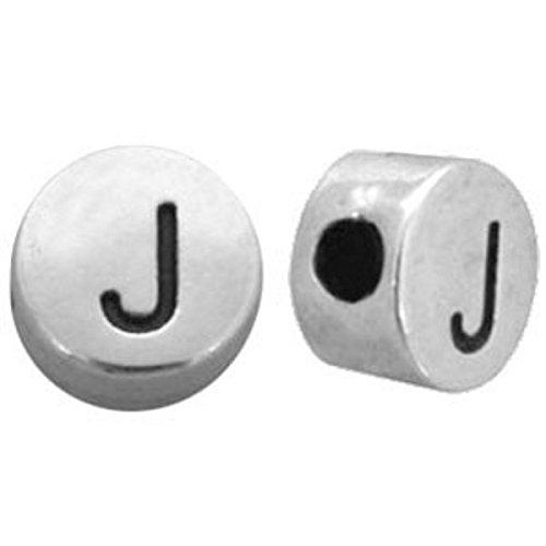 Sadingo Buchstabenperle J - DQ Metall Silber versilbert - 7mm, 1 Stück - Perlen basteln kleine Buchstaben - DIY Schmuck