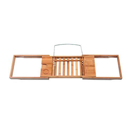 YQQ-Regal Bambus Bad Board Caddy Erweiterbar Über Das Badewannenregal Mit Weinglas Telefon IPad Tablet-Halter Und Buchen (Hängende Dusche Caddies)