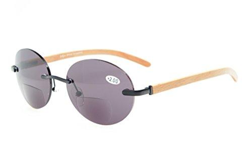 Eyekepper Federscharniere Wood Arms Randlos Rund Bifocal Sonnenbrillen Schwarz/Grau Linse +2.0